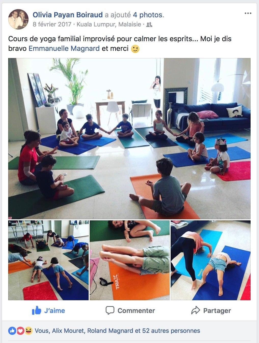 Le post Facebook de mon amie Olivia grâce à qui j ai animé pour mon premier  cours de yoga pour les enfants … 676505c7c34